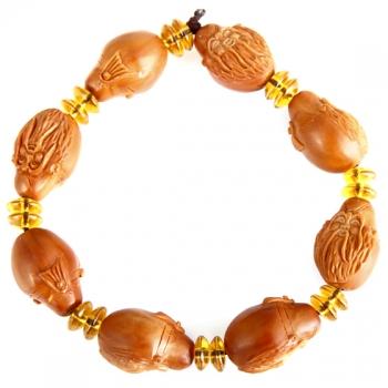 曼丽翠精雕寿星橄榄核珠串 黄色