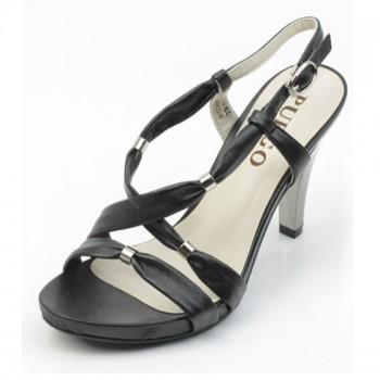 千禧步步高简约漆皮绑带高跟女士凉鞋W12300415 黑金色