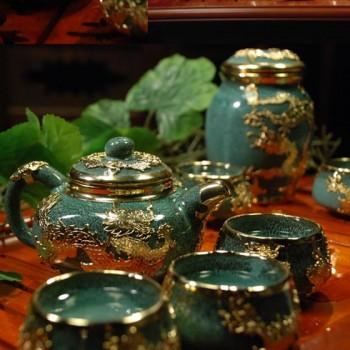 国宾礼品金镶玉双层紫砂茶具绿方圆
