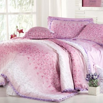 嘉恋贡缎提绣整体家居10件套 紫色