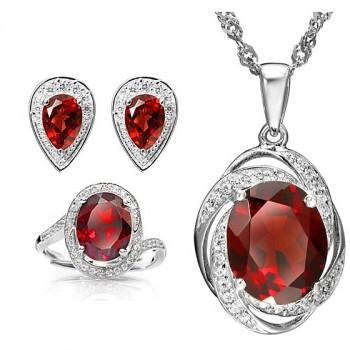 """安瑞祥""""瑰宝奇珍""""顶级红石榴石套组 玫瑰红色"""