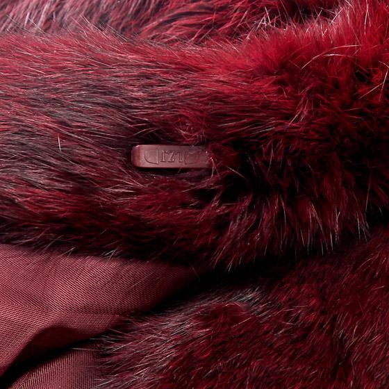 【海宁皮草】聖姆仕貉子领兔毛大衣 酒红色