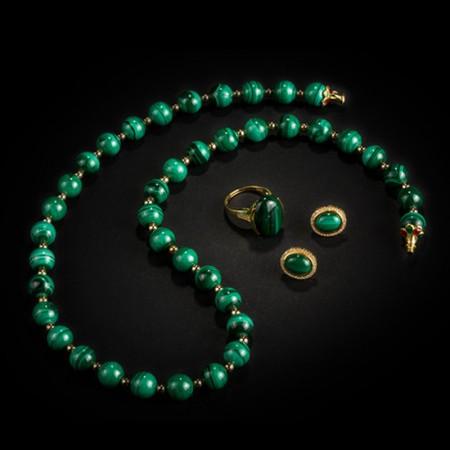 梵洛施孔雀石珠宝套组 绿色