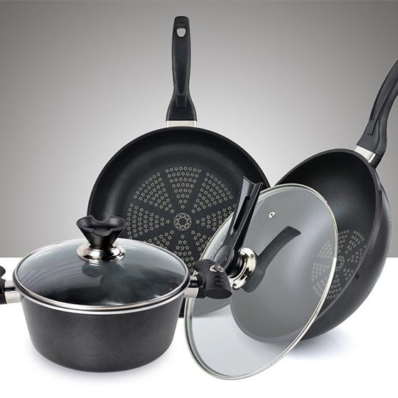 [赛普瑞斯] 钻技不粘锅3件 黑色