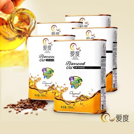 爱度六度提纯冷榨亚麻籽油750ml*5罐