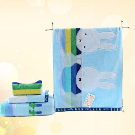 金号三件套米菲正品MF1046毛方浴套装兰色礼盒