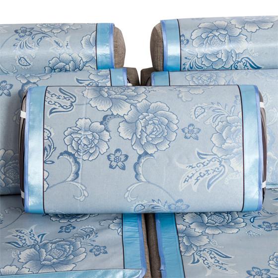 优购物特供提花冰丝沙发五件套 蓝色