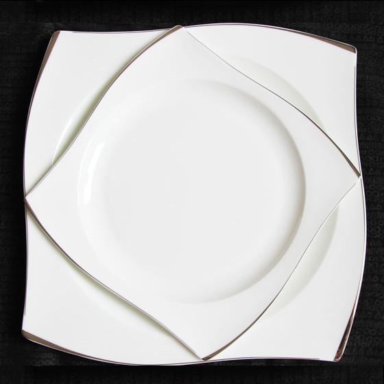 [迪奥百合] 印象骨瓷手工描边西餐盘8件套 纯白