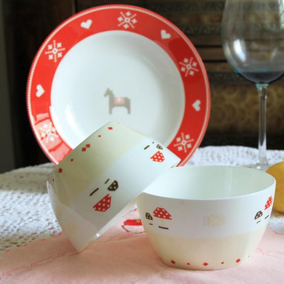 [迪奥百合] 小木马骨瓷餐具12件套装 彩色