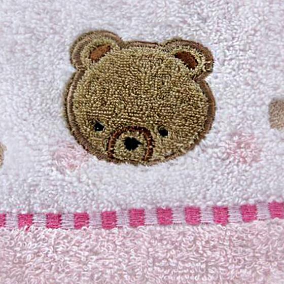 金号三件套纯棉刺绣小熊毛巾方巾浴巾礼盒红色