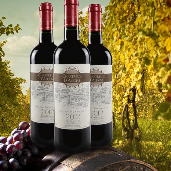 法国原瓶进口查特艾丽斯红葡萄酒750ml*3瓶