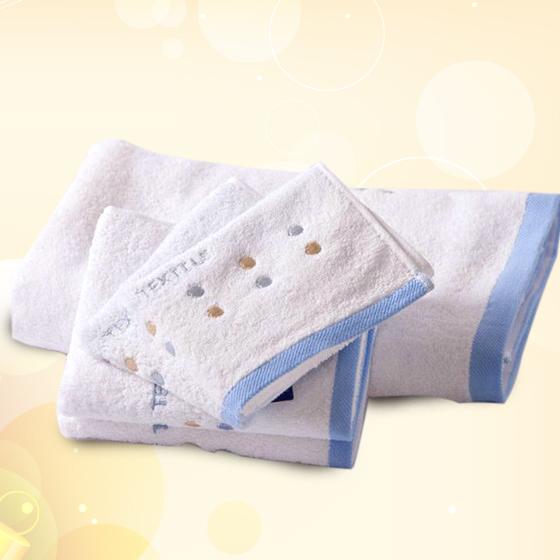 金号三件套纯棉素色毛巾方巾浴巾2173蓝色