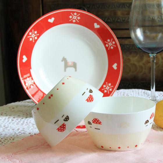 [迪奥百合] 小木马20头骨瓷餐具套装家庭装