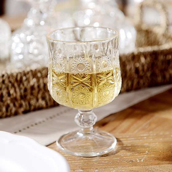 [奇居良品]米娜无铅透明水晶玻璃高脚小酒杯 6件套A款