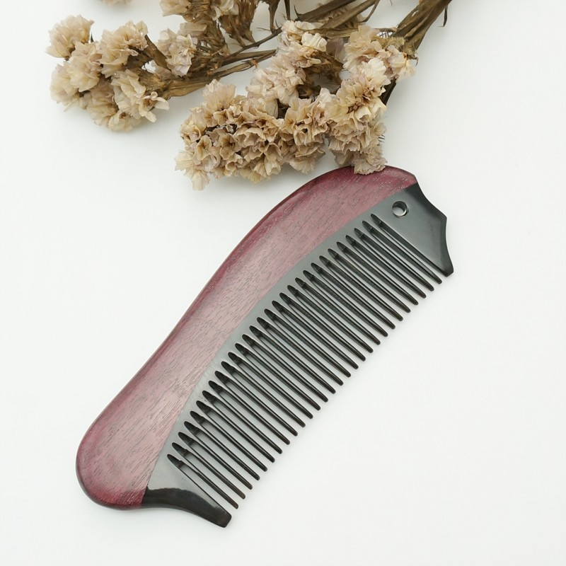 百年许氏便携式黑水牛角配紫罗兰梳