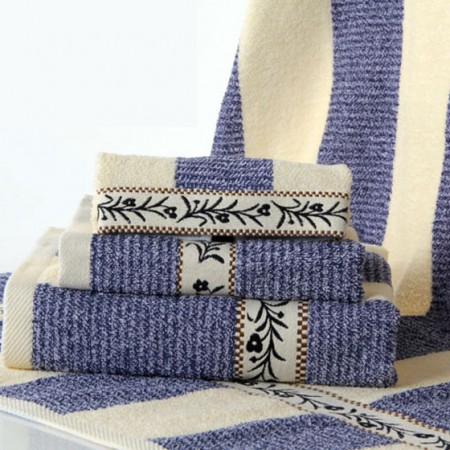 金号三件套纯棉方格毛巾方巾浴巾11011蓝色礼盒