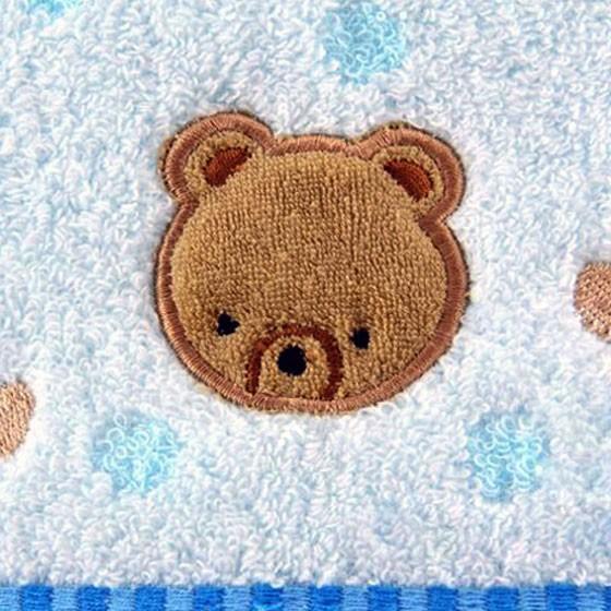 金号三件套纯棉无捻小熊刺绣3166毛巾方巾浴巾套装兰色礼盒
