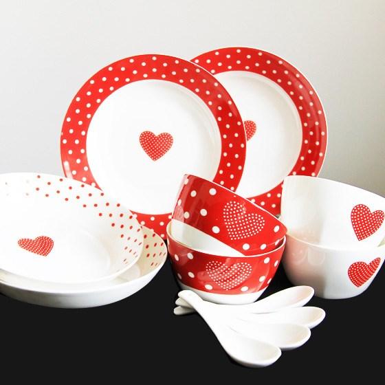[迪奥百合] 暖心12件骨瓷餐具家庭套装
