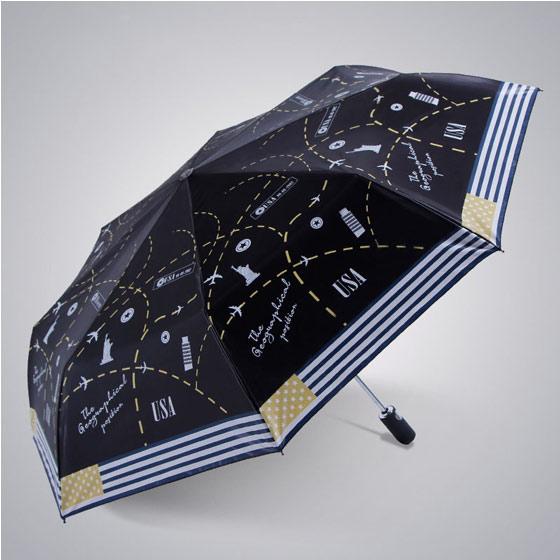 天堂伞超轻缎面黑胶自收放三折晴雨伞33180E暗金蓝