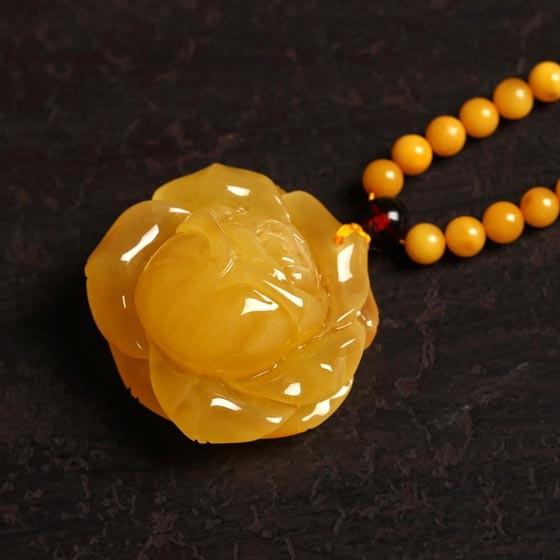曼丽翠富贵牡丹蜜蜡项链