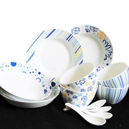 [迪奥百合] 蓝色梦幻12件骨瓷家用餐具套装
