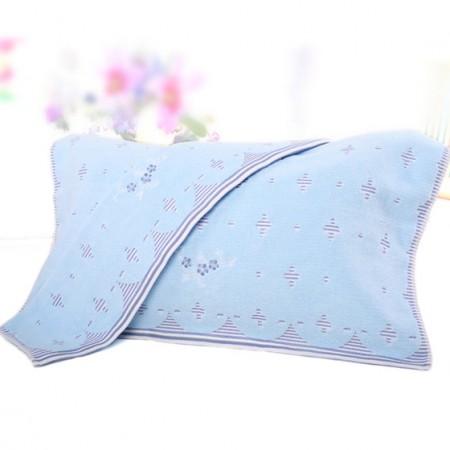 金号两条装纯棉无捻提缎提花枕巾G2056H蓝色