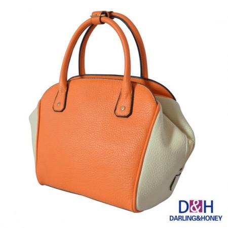 D&H拼色复古女包XM-14桔色拼米白色