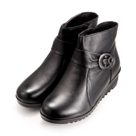 优诗佳头层牛皮女鞋·2双(黑色棉鞋1双+酒色单鞋1双)