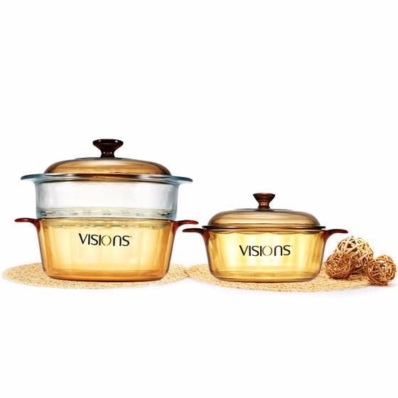 康宁VISIONS 1.25L+2.25L晶彩透明玻璃锅+玻璃蒸格3件套装·棕色