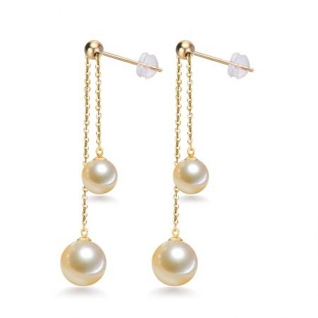 银生 G18K金浅金色可调节珍珠耳线