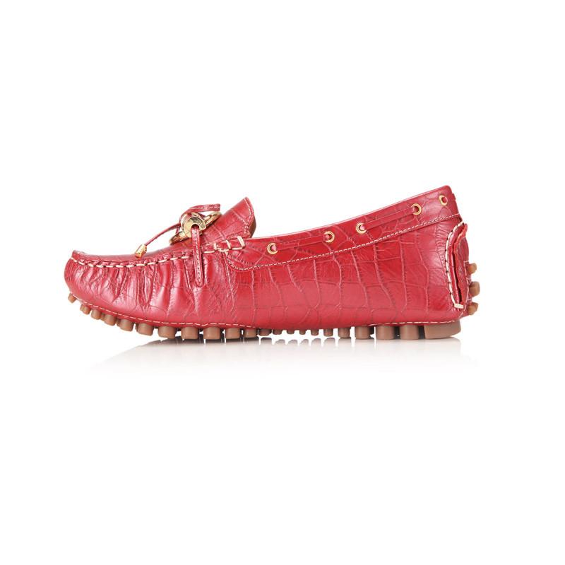 诺曼地 荣耀经典环饰豆豆鞋·红色