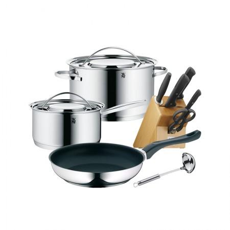 德国[WMF]经典锅具套装 汤锅煎锅刀具套装5件套