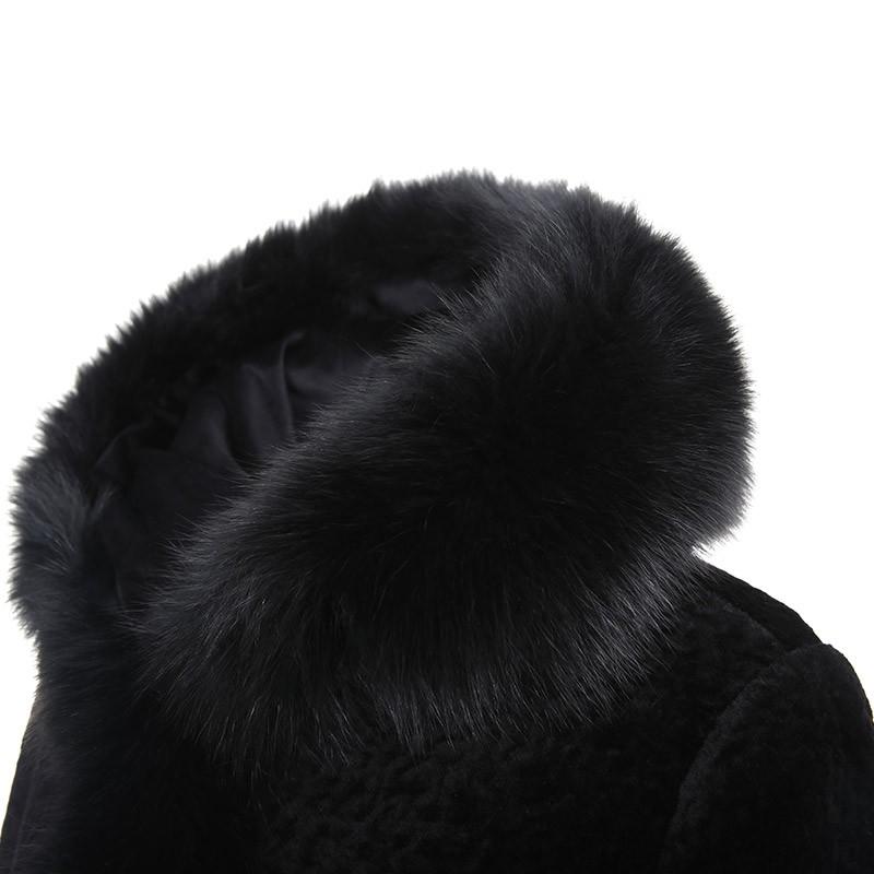 法国艾仕摩(ElsMorr)超长羊剪绒皮草大衣(走秀款)·黑色