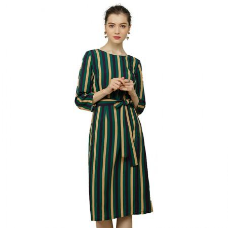 莉莉的圆领七分袖撞色宽松a字连衣裙中长款LL8104002·绿色