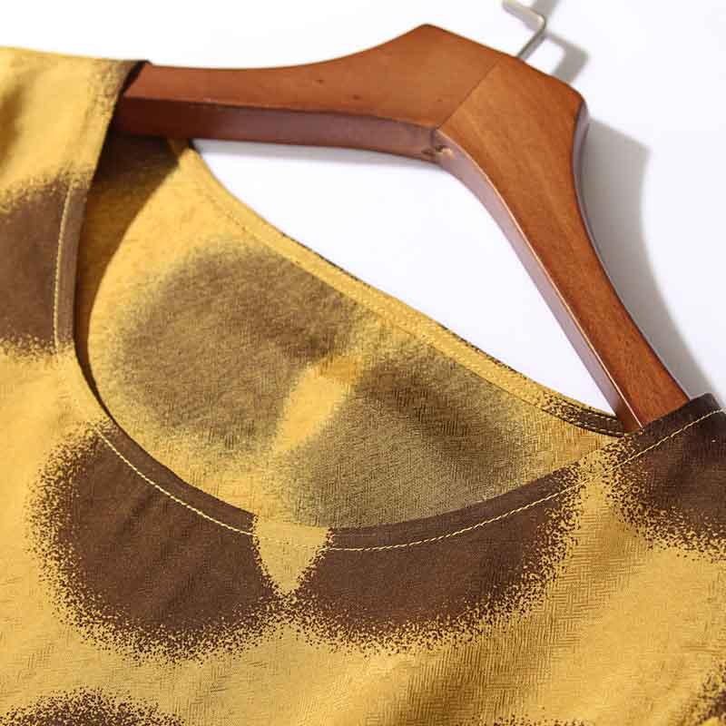丁摩 桑蚕丝宽松显瘦中长款气质A字裙0103·黄色