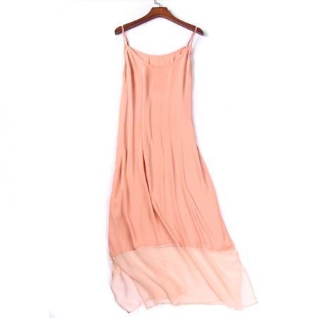 丁摩 真丝裙摆镂空网纱连衣裙6006·粉色