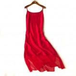 丁摩 真丝裙摆镂空网纱连衣裙6006·红色