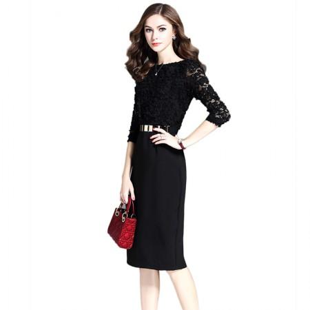 妖歌 时尚蕾丝气质修身显瘦包臀裙子中长款连衣裙1064213·黑色