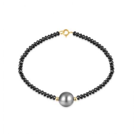Vermeer 18K金大溪地海水珍珠黑晶石手链9-10mm·黑色