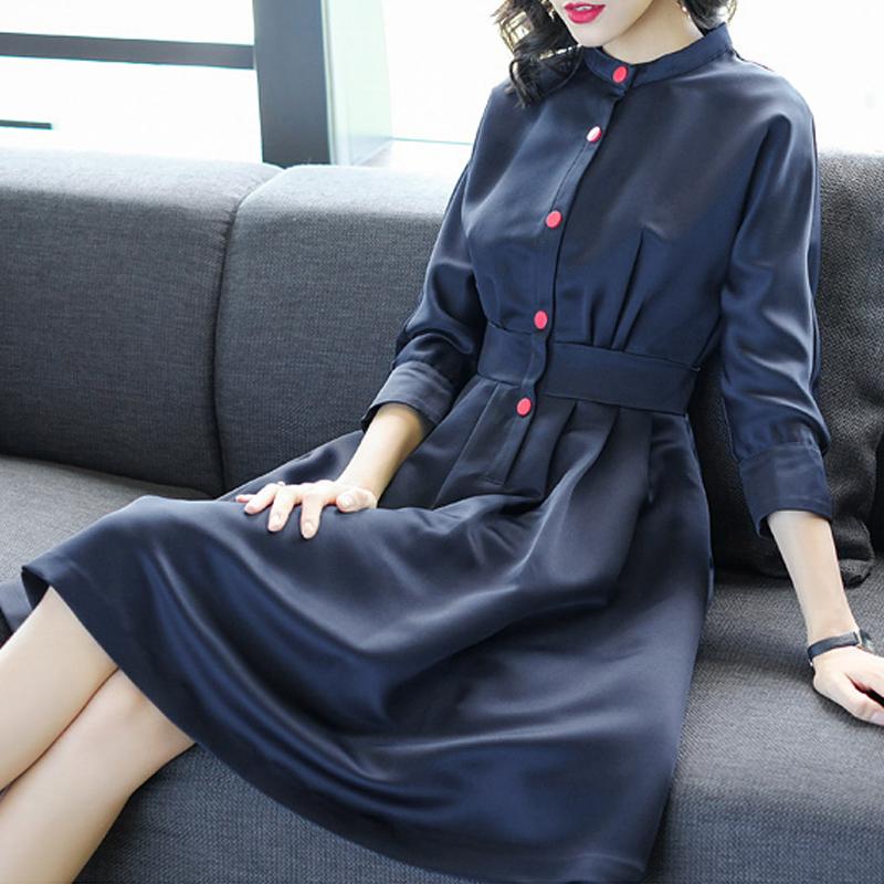 妖歌 春装七分袖修身收腰中长款大摆A字打底连衣裙·宝蓝色