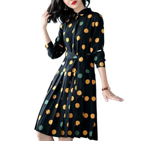妖歌 中长款波点气质名媛雪纺连衣裙女修身显瘦A字裙001·黑色波点