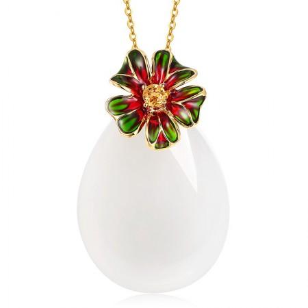 金一18k金珐琅花朵和田玉水滴形吊坠
