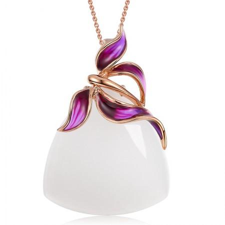 金一18k金蝴蝶紫珐琅和田玉吊坠