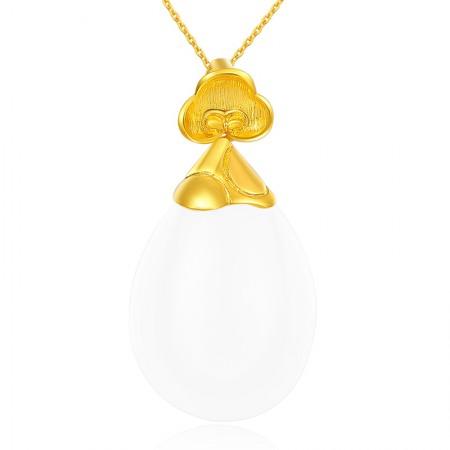 金一黄金足金和田玉花朵水滴形吊坠