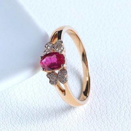 老冯记18K天然红宝石戒指经典款 总重:2.57g