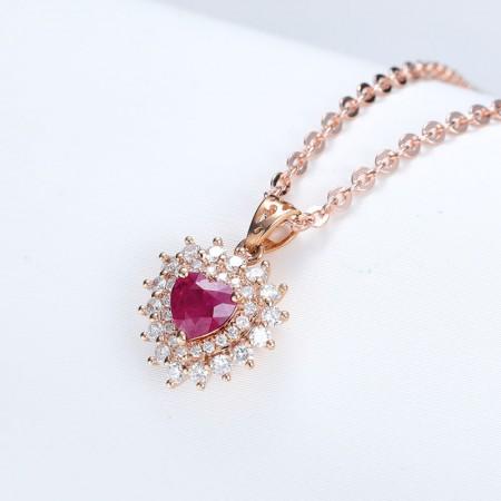 老冯记18K红宝石吊坠爱心款(天然鸽血红)0.506克拉(赠送18K项链)
