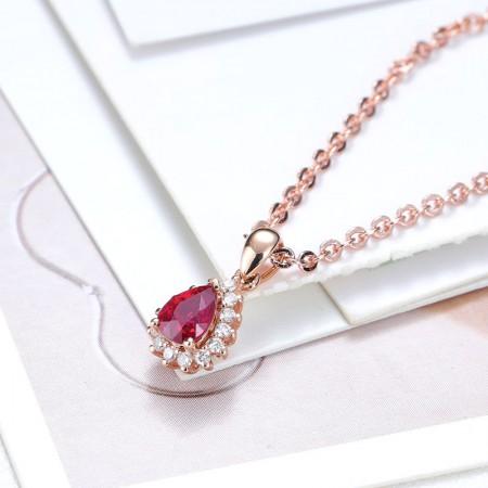 老冯记18K红宝石吊坠水滴款 (天然鸽血红)0.438克拉(赠送18K项链)