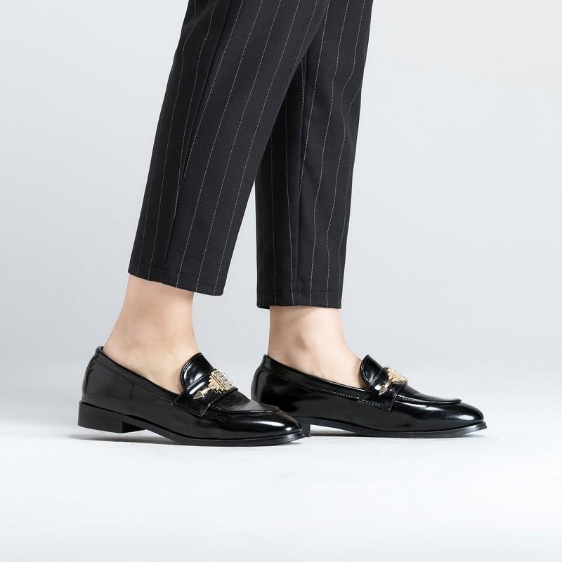 莺卡 竖条纹高腰显瘦九分哈伦裤·黑色