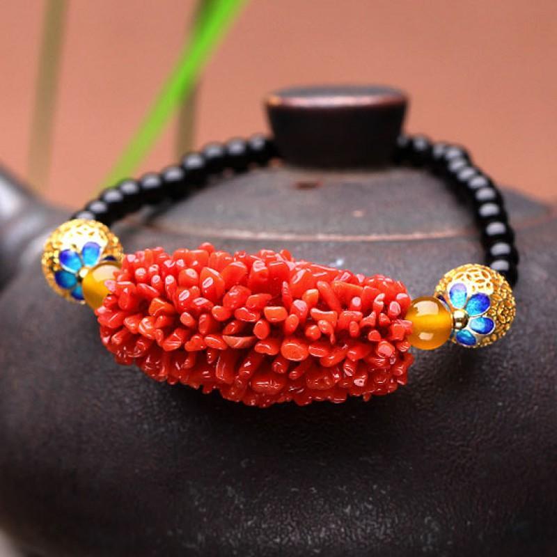 映时红珊瑚毛毛虫搭玛瑙手链