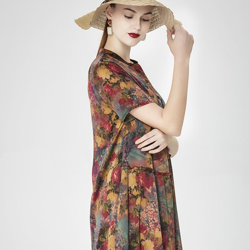 蚕之声 桑蚕丝短袖旗袍气质古韵印花长裙 8173·花色
